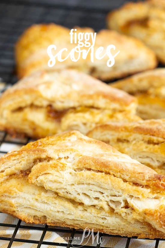 Perfectly buttery and subtly sweet, Fig Scones are a delicious way to start the day. Layers of flaky dough and fig jam offer a savory and slightly sweet combination. #scones #biscuits #bread #recipe #breakfast #brunch #pineapple #coconut #baked #baking