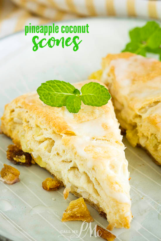These sweet Tropical Pineapple Coconut Scones have punches of tropical flavor between buttery layers of tender, flaky dough. #scones #biscuits #bread #recipe #breakfast #brunch #pineapple #coconut #baked #baking