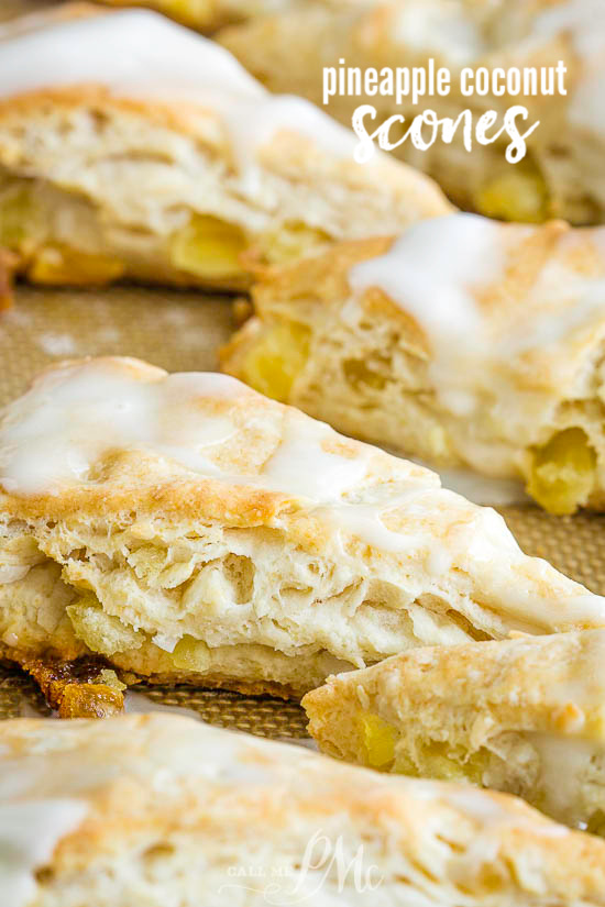 These sweet Tropical Pineapple Coconut Scones have punches of tropical flavor between buttery layers of tender, flaky dough.  #scones #biscuits #bread #recipe #breakfast #brunch #pineapple #coconut #baked #baking via @pmctunejones