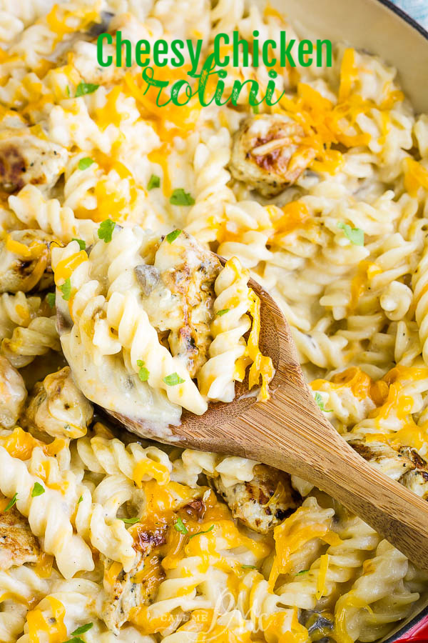 Super cheesy and creamy, Cheesy Chicken Rotini will become your new favorite, go-to weeknight recipe! #pasta #chicken #cheese #recipe #casserole via @pmctunejones