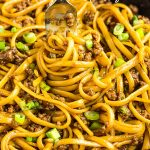 Easy to make Ground Beef Mongolian Noodles is sweet, spicy, and perfect for busy weeknights! You can make this in 30 minutes or less and it tastes even better than the restaurant version. #Asian #Mongolian #Mongolianpasta #noodles #pasta #beef #groundbeef #recipe #familyfavorite