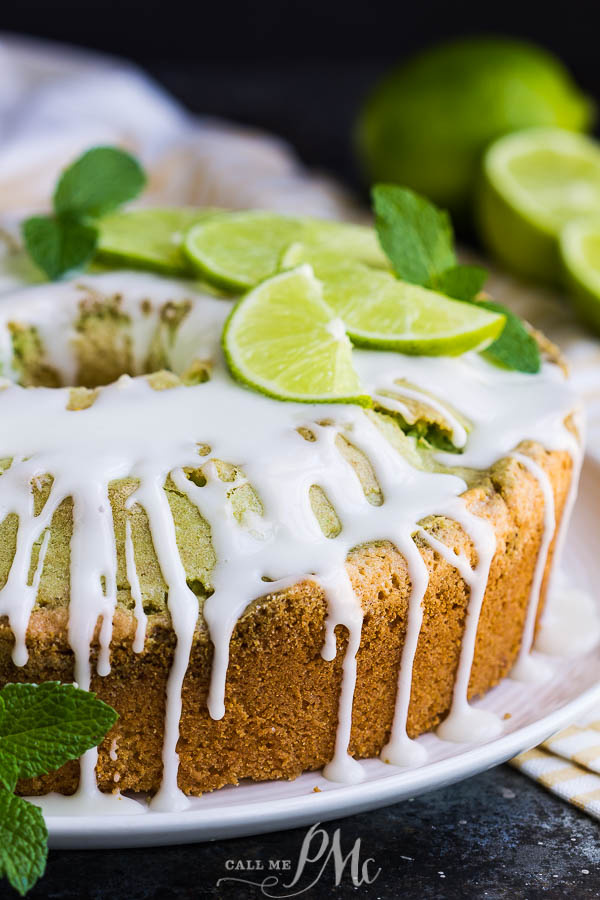 Key Lime Coconut Marbled Pound Cake with Jello is an easy & refreshing cake with plenty of zippy lime and coconut flavor. #coconut #lime #poundcake #cake #dessert #poundcakepaula #recipes #moist #homemade #bundt
