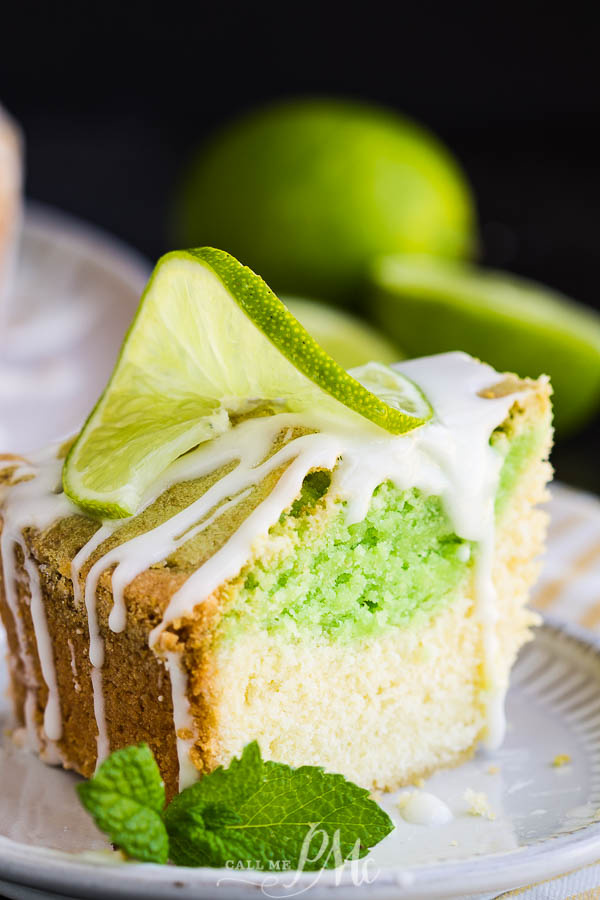 Key Lime Coconut Marbled Pound Cake with Jello is an easy & refreshing cake with plenty of zippy lime and coconut flavor. #coconut #lime #poundcake #cake #dessert #poundcakepaula #recipes #moist #homemade #bundt