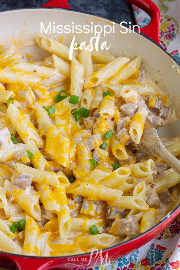 Extra creamy, wildly delicious, and super easy is this Mississippi Sin Pasta recipe is the ultimate comfort food. #pasta #ham #cheese #recipe #MSsindip #MississippiSinDipPasta
