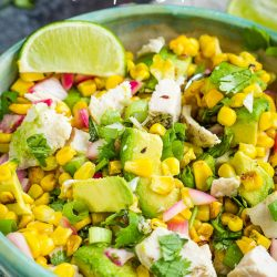 Avocado Chicken Salad Recipe is a hearty mix of grilled chicken, avocado, corn, onions, cilantro, and lime juice. #avocado #chicken #salad #chickensalad #recipe #food #eat #easy #lunch #dinner #picnic