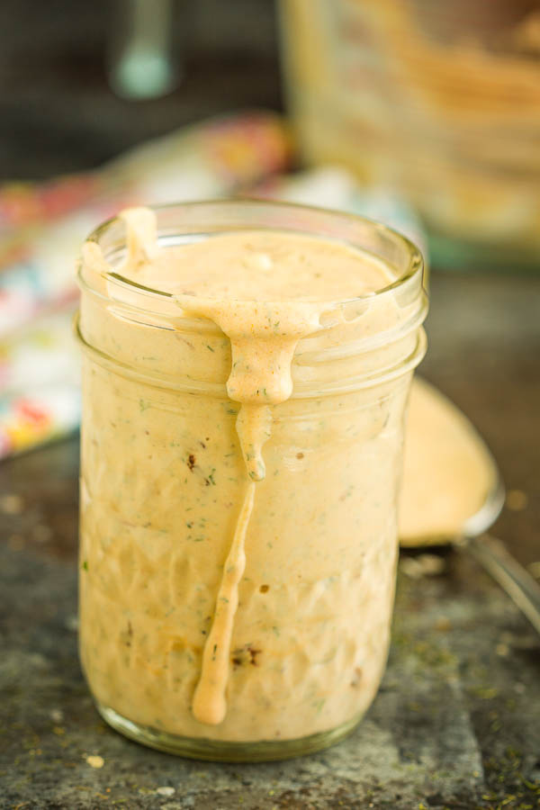 Moe's Chipotle Ranch Dressing in a jar on a table