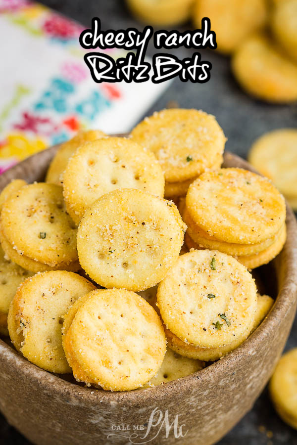 The perfect snackable treat, Cheesy Ranch Ritz Bits are seasoned with ranch seasoning, red pepper, and garlic. #ritzbits #snack #recipe #crackers #firecrackers #ranch via @pmctunejones