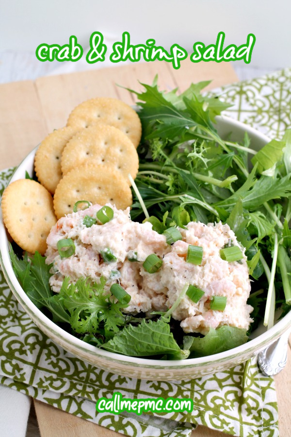 Crabmeat and Shrimp Salad Recipe is light, refreshing, versatile. This quick easy Southern seafood salad tastes has lemon & is served cold. #shrimp #crab #seafood #Southern #coldsalad #salad #lemon #recipe #lunch #sidedish via @pmctunejones