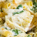 Spinach Ricotta Pasta Casserole recipe features spinach, ricotta, mozzarella, and spice, perfect side dish or meatless main. #spinach #ricotta #pasta #casserole #recipe #baked #healthy #cheese #easy