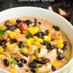 Southwest Creamy White Chicken Chili (stovetop & slow cooker method) is a cozy, satisfying, healthy meal of pure comfort. #soup #chili #chickenchili #whitechili #recipe #comfortfood #easy #Southwest #TexMex