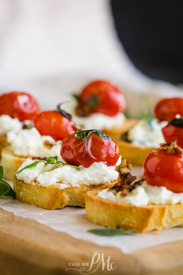Whipped Ricotta and Blistered Tomato Bruschetta make a simple and satisfying appetizer any time of year! Char-grilled french bread topped with whipped ricotta and tomatoes makes for a delicious bite. #recipe #appetizer #recipeoftheday #callmepmc