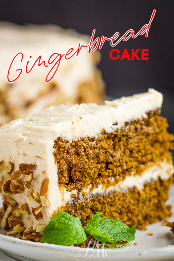 So tasty and delicious, Gingerbread Layer Cake Recipe, flavored with ginger and molasses, will definitely get you in the holiday spirit! #ginger #gingerbread #cake #recipe #layercake #gingerbreadcake #holiday #holidaycake #Christmascake #Christmas #buttercream #moist via @pmctunejones
