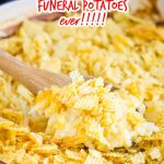 Hashbrown Potato Casserole No Cream Soup, this particular recipe is also known as Funeral Potatoes. It's creamy, rich, and super easy to put together. #casserole #hashbrown #potatoes #funeralpotatoes #cheese #recipe #easy #holidays #potluckrecipe #potluck