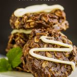 Healthy No-Bake Chocolate Peanut Butter Oatmeal Cookies, a healthier version than the original, this recipe is the perfect healthy, no sugar, pantry staple recipe when you want a sweet treat. #healthy #cookies #chocolate #oats #oatmeal #recipe #dessert #healthyrecipe #healthyliving