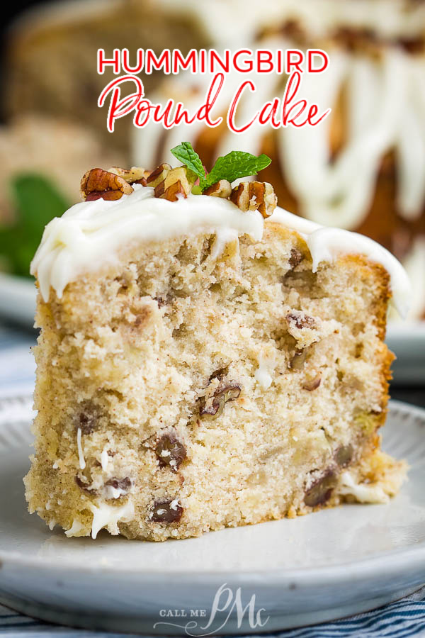 A twist on the classic layer cake, Hummingbird Cake Pound Cake is the ultimate dessert recipe! #cake #poundcake #poundcakepaula #dessert #recipe #bananacake #pineapple #pecans #Thanksgiving #holidayfood #holidayrecipes via @pmctunejones