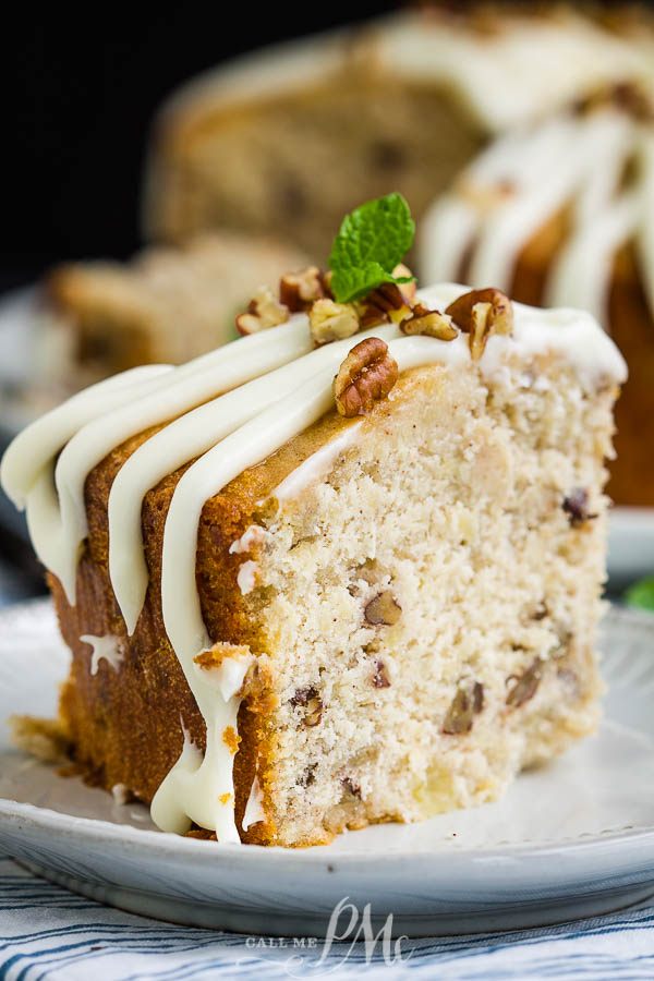 A twist on the classic layer cake, Hummingbird Cake Pound Cake is the ultimate dessert recipe! #cake #poundcake #poundcakepaula #dessert #recipe #bananacake #pineapple #pecans #Thanksgiving #holidayfood #holidayrecipes