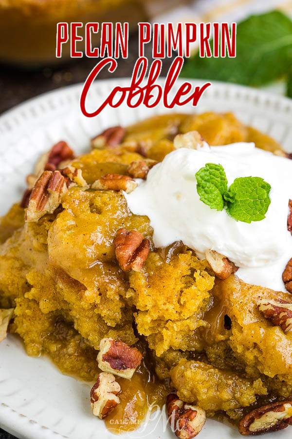 The perfect fall dessert, Pecan Pumpkin Cobbler Recipe has a sweet, creamy pumpkin custard as the base layer. It's topped with a buttery cobbler and oozing with rich, gooey caramel. #cobbler #pecan #pumpkin #recipe #dessert #baked #baking #easy #falldesserts via @pmctunejones