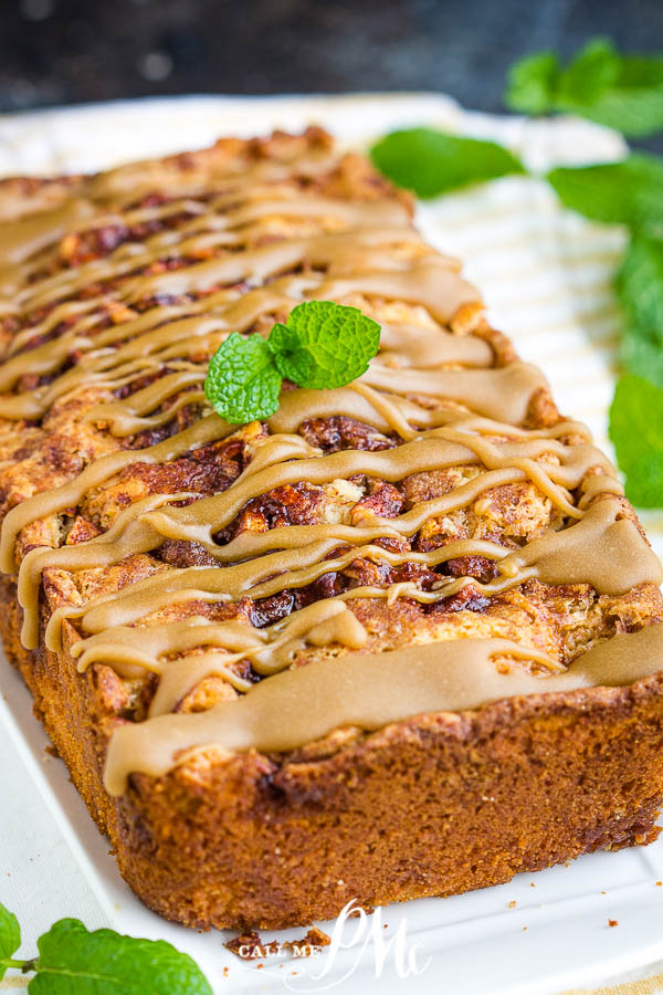Amish Apple Bread Recipe is loaded with apples and cinnamon and topped with caramel. It's soft, moist, sweet, and delicious, the ultimate fall comfort. #apples #applebread #bread #quickbread #recipe #callmepmc #cinnamon #baking #easy #moist