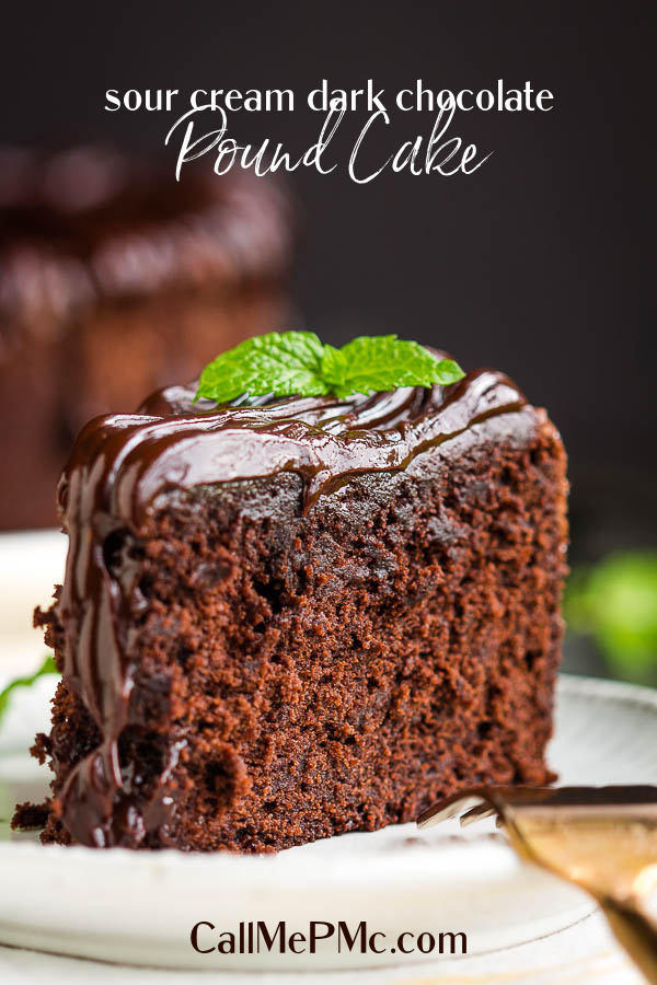 Buttery, dense yet tender and moist, Sour Cream dark chocolate pound cake is quick and easy to make with simple ingredients. #recipe #cake #poundcake #homemade #fromscratch #poundcakepaula #Southern #dessert #moist #easy #chocolate #darkchocolate