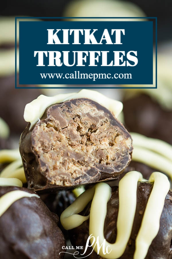 Dangerously-delicious, rich, and decadent, KitKat Truffle Recipe is an easy 3 ingredient, no-bake recipe that's perfect to make with children and to give as gifts for the holidays. #truffles #recipes #candy #chocolate #dessert #gift #Kitkat #candybar