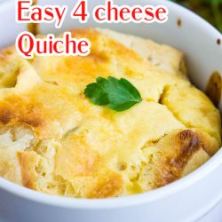 Deliciously light & fluffy, Panera Bread 4 Cheese Souffle Recipe is surprisingly easy to make for special occasions any time of year! #souffle #eggsouffle #eggs #quiche #copycatrecipe #recipe #breakfast #brunch