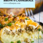 Cheesy Sausage Hash Brown Casserole is an easy one-dish meal that can be made and baked or made ahead, refrigerated, and baked later. #baked #casserole #breakfast #brunch #makeahead #overnight #recipe #hashbrowns #sausage #cheese