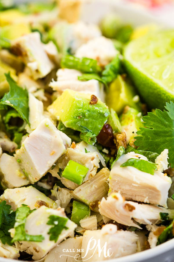 Loaded Keto Avocado Bacon Chicken Salad {ABC Salad} is packed with protein, nutrients, low-carb, simple & quick to prepare. #keto #salad #chicken #avocado #bacon #recipe #healthy #callmepmc