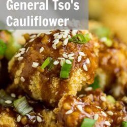Baked General Tso's Cauliflower is coated in panko breadcrumbs and baked until tender and crispy. #Asian #food #eat #copycatrecipe #recipe #GeneralTso #Cauliflower #plantbased #vegan