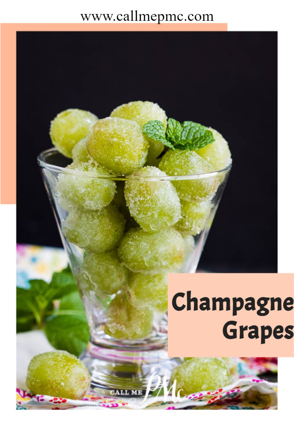 Boozy, sweet, festive, fun, Sugar Champagne Grapes is a tasty treat for any celebration. aka Drunken or Boozy grapes. Prosecco, rum, tequila #booze #grapes #champagne #recipe #callmepmc