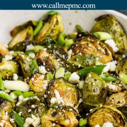 Hot Honey Brussels Sprouts Recipe is perfectly crispy on the outside, tender and soft on the inside, and coated in a lusciously sweet and spicy glaze. #honey #Brusselssprouts #vegetables #roasted #spicy #hot #recipe #callmepmc