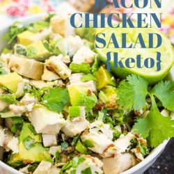 Loaded Keto Avocado Bacon Chicken Salad {ABC Salad} is packed with protein and nutrients. It's low-carb, super simple, and quick to prepare. #keto #salad #chicken #avocado #bacon #recipe #healthy