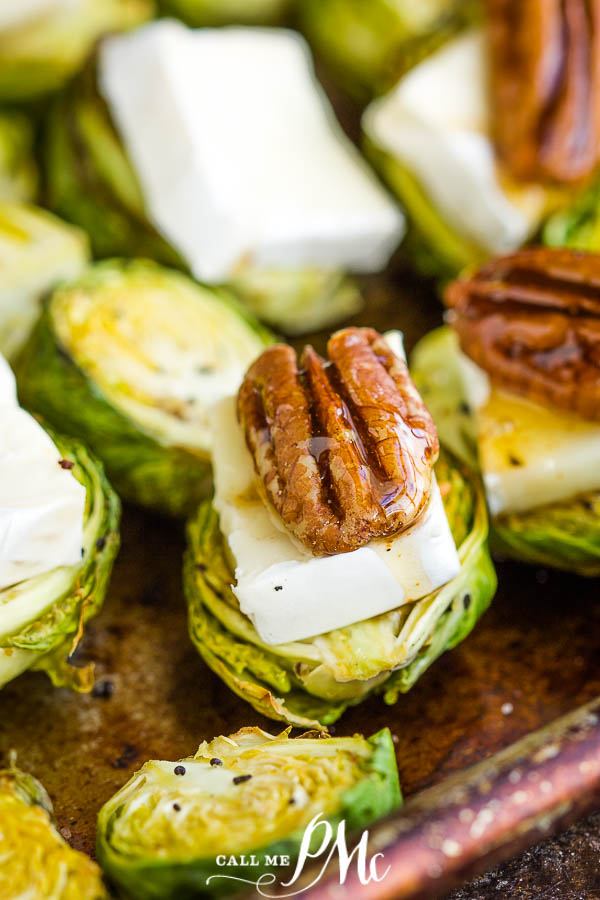 Gluten free · Serves 10 · The ultimate appetizer recipe!! Roasted Brussel sprouts with brie cheese, pecans, & hot honey! These tiny bites are the perfect appetizer or game day food that everyone go crazy about! #hothoney #superbowl #healthyappetizers #gameday #brusselsprouts #appetizerrecipes