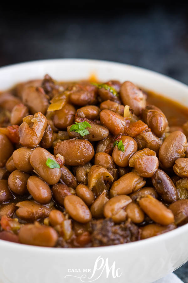 Slow Cooker Pinto Beans and Sausage in a bowl
