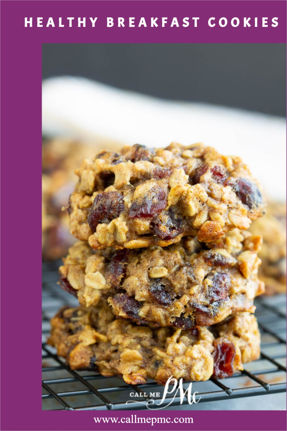 Stack of 3 oatmeal and dried cranberry cookies on a wire rack