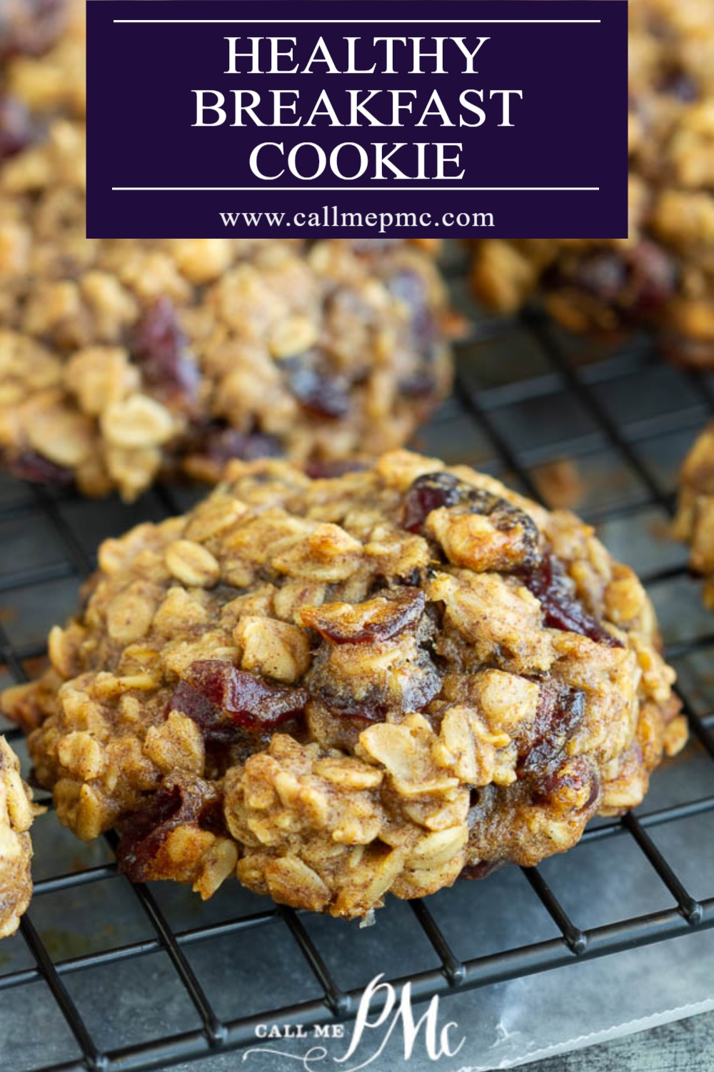 Large oatmeal cookie with dried cranberries on wire rack