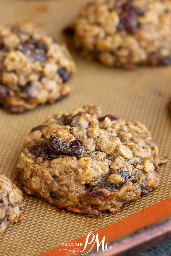 Healthy Breakfast Cookie Recipe is a wholesome, hearty, easy recipe that's great for on-the-go mornings are afternoon pick-me-ups.#breakfast #easy #healthy #oats #raisins #craisins #cranberries #almondbutter #recipes #callmepmc
