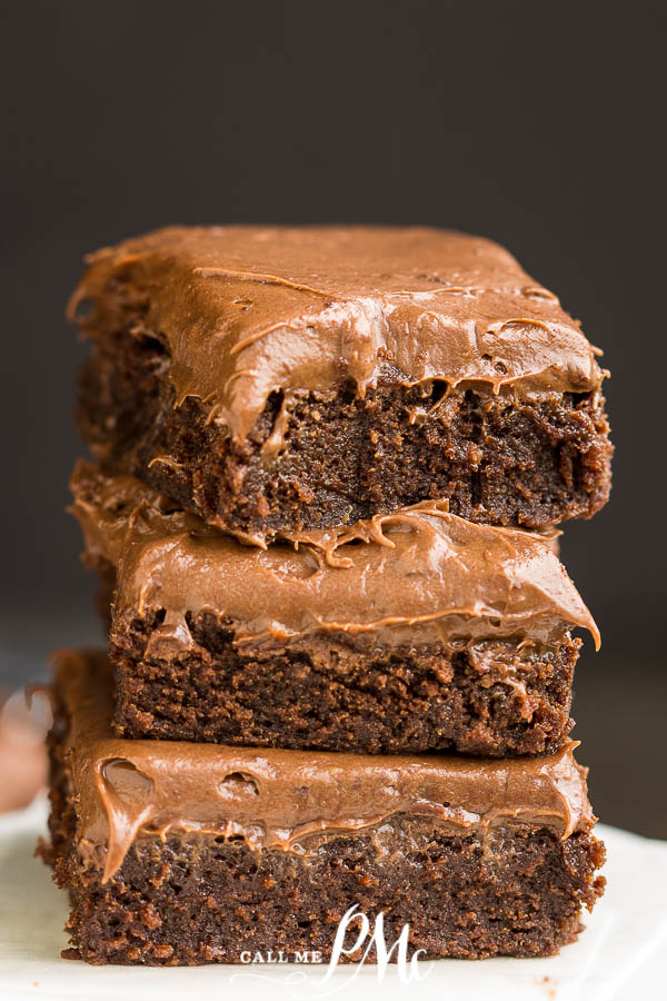 Chocolate Cream Cheese Frosted Brownies are super fudgy, moist, and slathered with a thick layer of chocolate cream cheese frosting. They are pure perfection.