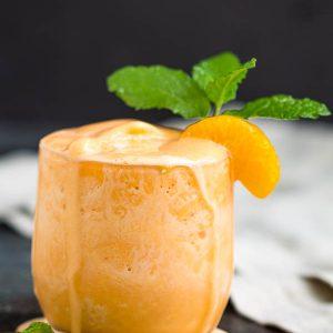 This Creamsicle Protein Shake recipe is a sweet orange julius smoothie drink that tastes like orange sherbet ice cream. Healthy, delicious. #healthy #smoothie #milkshake #proteinshake #drink