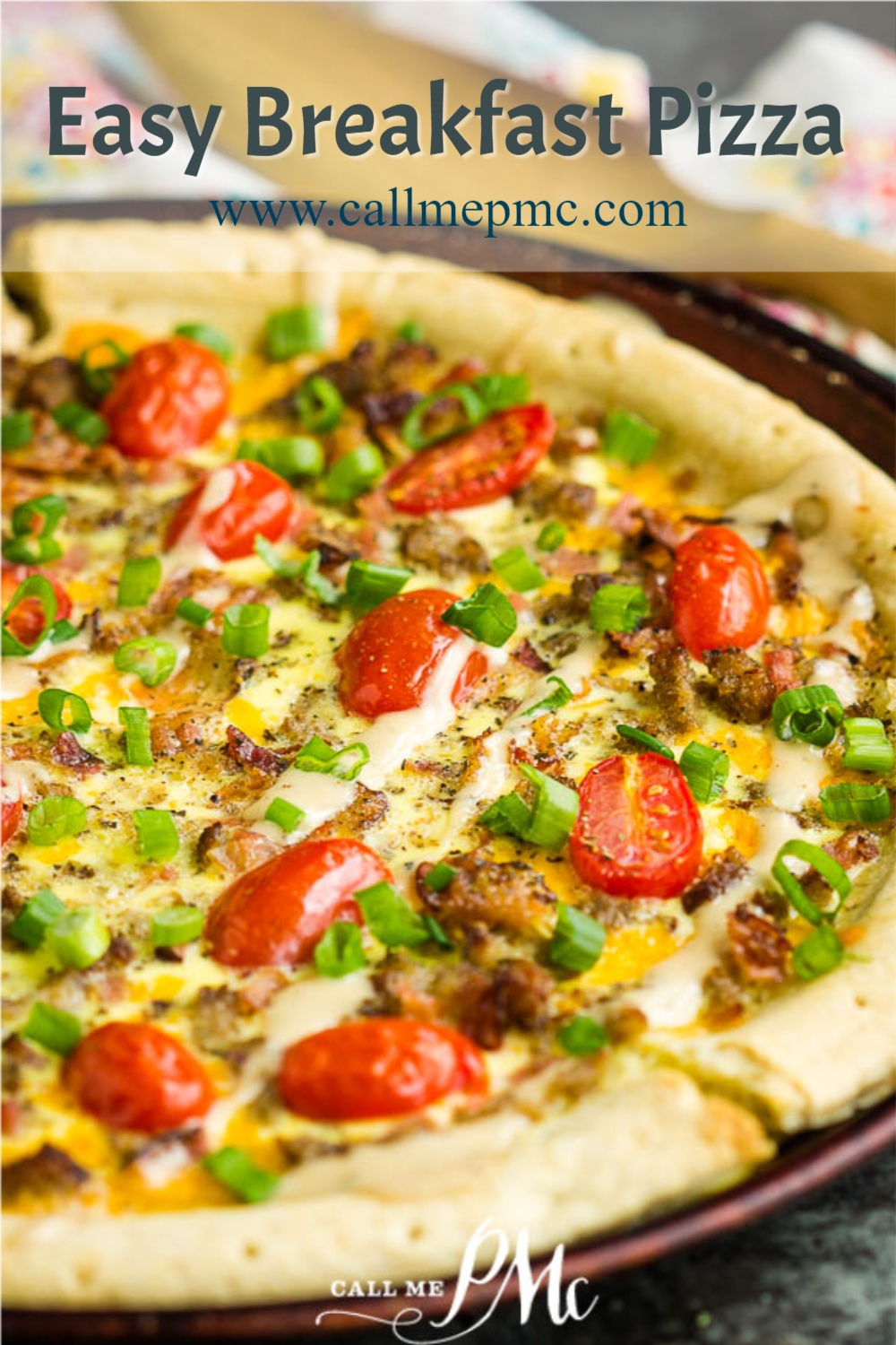 Easy Breakfast Pizza has fluffy eggs, cheese, sausage, ham, bacon on a thick and chewy crust! Sausage Breakfast Pizza with eggs recipe #sausage #bacon #ham #eggs #breakfast #brunch #pizza #breakfastpizza #recipe #callmepmc