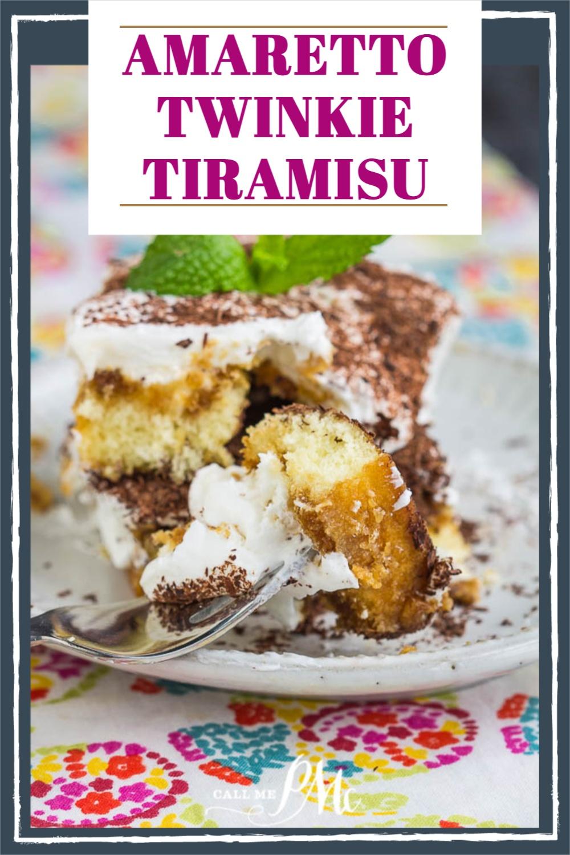 Amaretto Twinkie Tiramisu recipe has delicious cream filling with amaretto & espresso-infused Twinkies! No-bake, make-ahead dessert. #dessert #baking #recipe #Twinkie #coffee #espresso #makeahead #nobake #callmepmc