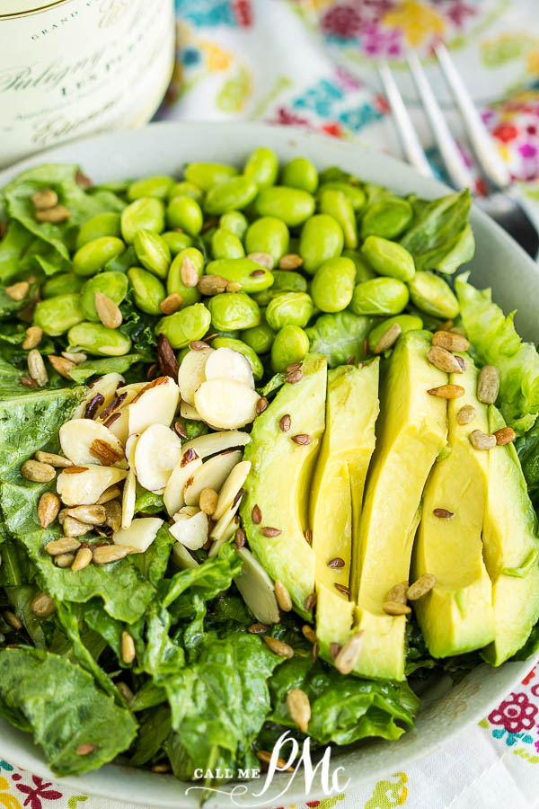Avocado Edamame Salad Recipe is a superfood dream! It's loaded with lettuce, avocado, edamame, cilantro, green onions & lime vinaigrette #salad #recipe #callmepmc