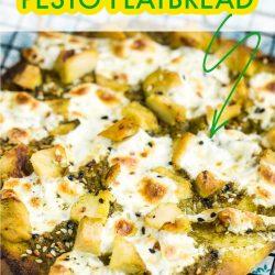 Easy Chicken Pesto Flatbread recipe has chicken, mozzarella, & basil pesto. Great with leftover chicken & a fresh summer favorite meal. #callmepmc #recipes #collegestudentrecipes #chicken #pesto #flatbread #pizza