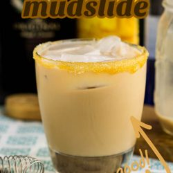 Caramel Mudslide is a delicious tasting dessert cocktail or after-dinner cocktail. This coffee-flavored vodka drink tastes like a milkshake and can be made frozen or on the rocks. #cocktail #mudslide #recipe #drinks #Irishcream #vodka #kahlua