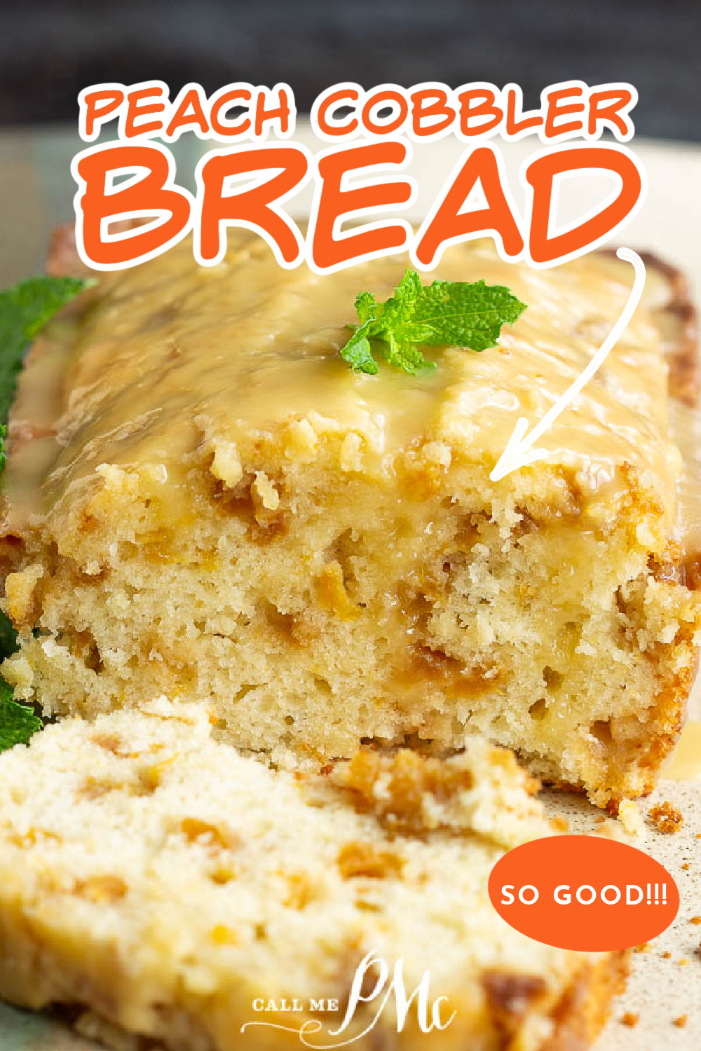 Fresh Peach Cobbler Bread Recipe has a crusty top, tender center, and is loaded with sweet, juicy peaches! #peach #bread #recipe