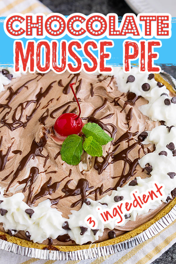 3 Ingredient Chocolate Mousse Pie is super easy to make and is always a crowd-pleaser. It's creamy, light, no-bake, and has no eggs, and no pudding.
