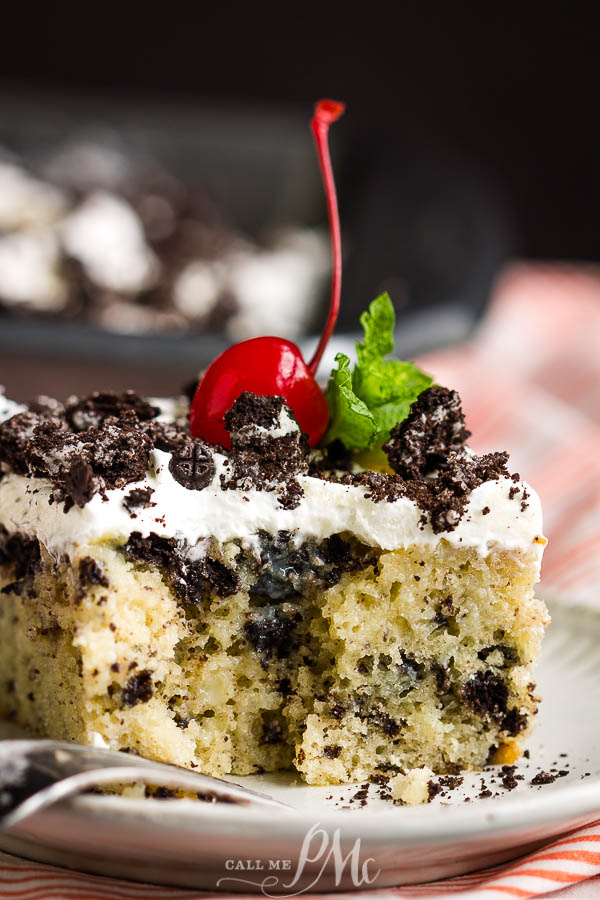 Oreo Poke Cake with a very special frosting!
