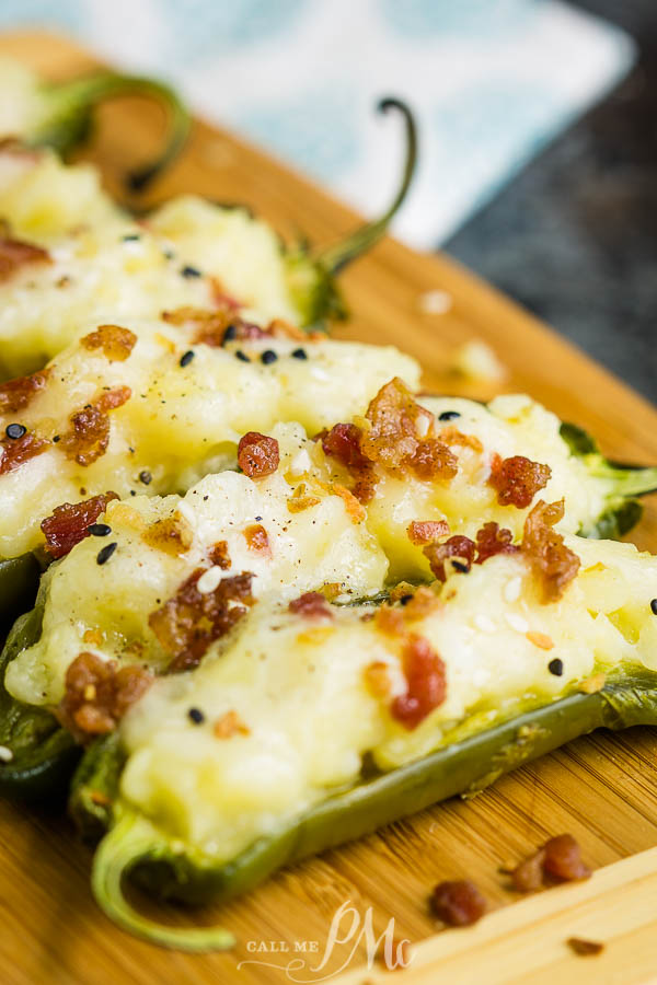 These delicious Potato Stuffed Jalapenos are filled with buttery mashed potatoes and topped with bacon bits. They are a quick and easy appetizer that tastes amazing!