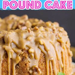 Bananas Foster Pound Cake recipe. This delicious cake recipe has classic Bananas Foster ingredients, bananas, brown sugar, rum, and pecans mixed in for an incredibly delicious dessert!
