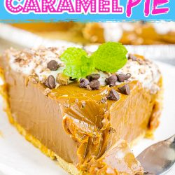O'Charley's Caramel Pie Recipe has a buttery graham cracker crust, thick rich caramel dulce de leche, whipped cream and chocolate.