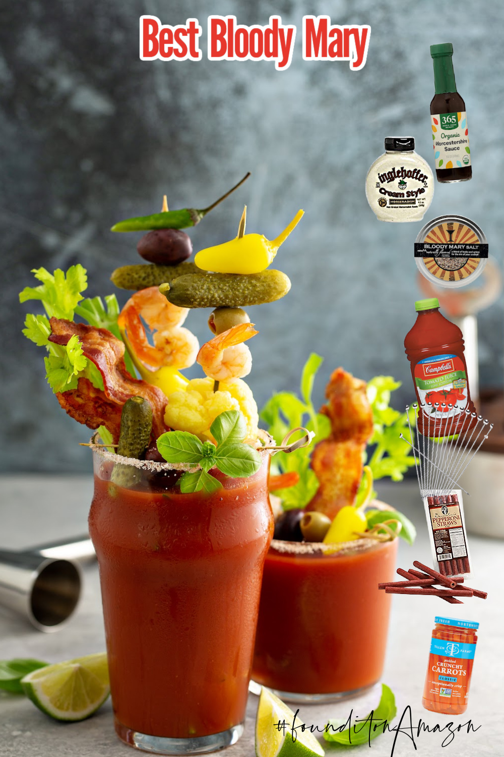 5 STAR BLOODY MARY RECIPE topped with variety of generous garnishes